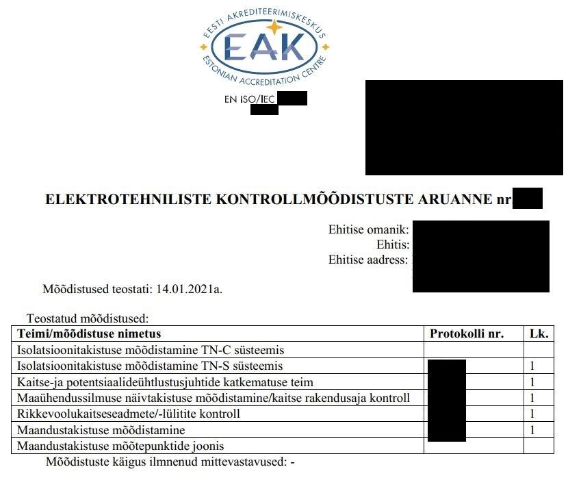 Elektrotehniliste kontrollmõõtmiste korraldamine